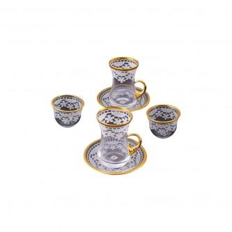 طقم 18 قطعة  فناجين قهوة وبيالات شاي مع الصحون موديل 124708