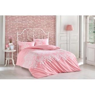 طقم لحاف مفرش سرير فندقي  ,7 قطعه ,نفرين . لون زهري