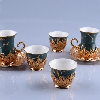 طقم فناجيل قهوة وبيالات شاي مع الصحون  36 قطعة ذهبي رقم 778222