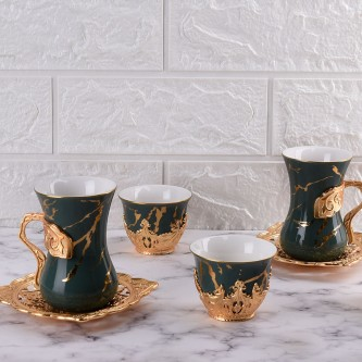 طقم فناجيل قهوة وبيالات شاي مع الصحون  36 قطعة ذهبي رقم 778224
