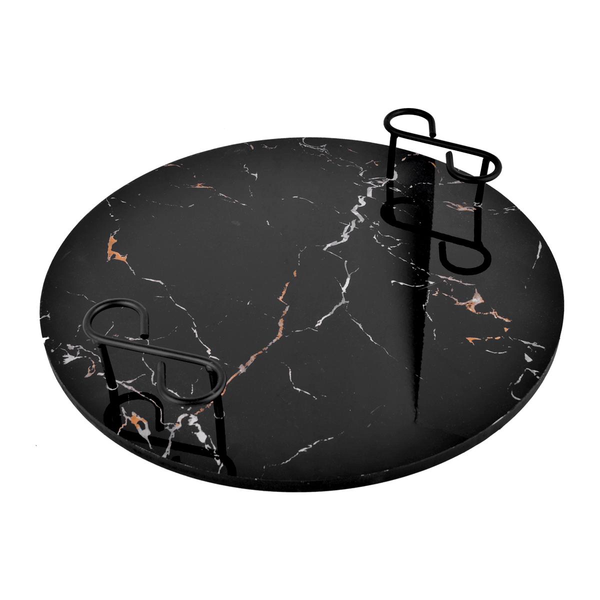 طفرية تقديم دائرية بسطح شكل الرخام  38 سم  - من ماي مارت