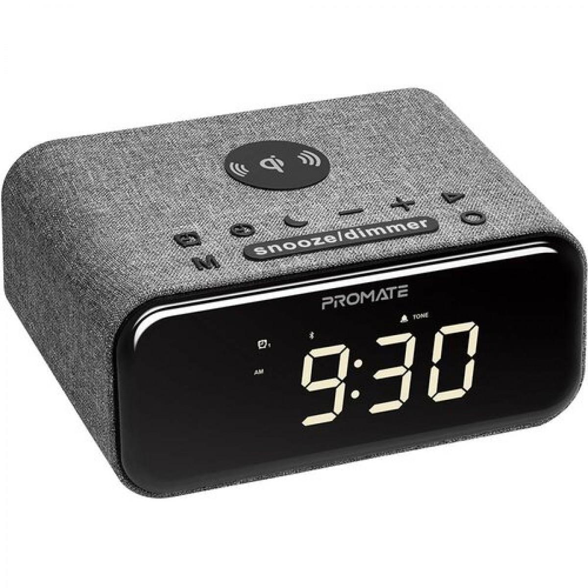 قاعده شاحن سريع لاسلكي 5 واط بمنفذ يو اس بي4.2 ايه للهواتف ابل، مع ساعة منبه ومكبر صوت