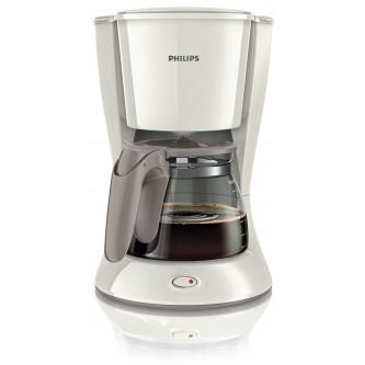 صانعة قهوة يومية من فيليبس مع كأس زجاجي - ابيض، موديل HD7447