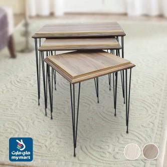 طاولة تقديم وخدمة خشب 3 قطعة بني فاتح KU-02