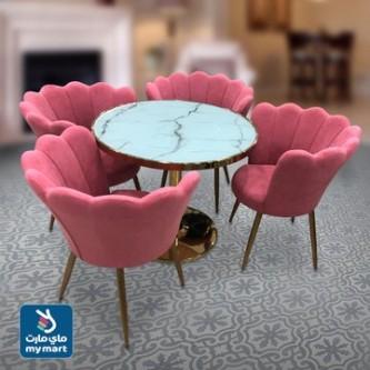 طاوله طعام  خشب مع  4 كرسي  لون زهري  رقم 6123