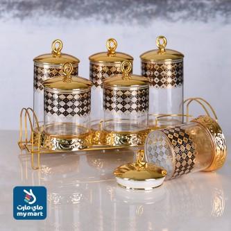 علب بهارات طقم زجاج  موديل NO-14439
