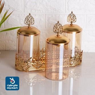 علب بهارات طقم زجاج ذهبي  موديل 0891-01
