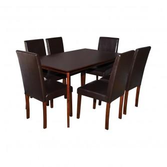 طاوله طعام خشب بني مع  6 كرسي جلد موديل RH7219+5980CBR
