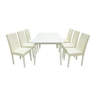 طاوله طعام خشب ابيض مع  6 كرسي جلد موديل RH7219+5980CW