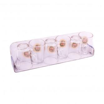 بياله شاهي زجاج 6 حبة بوردة رقم A2309SFDTG