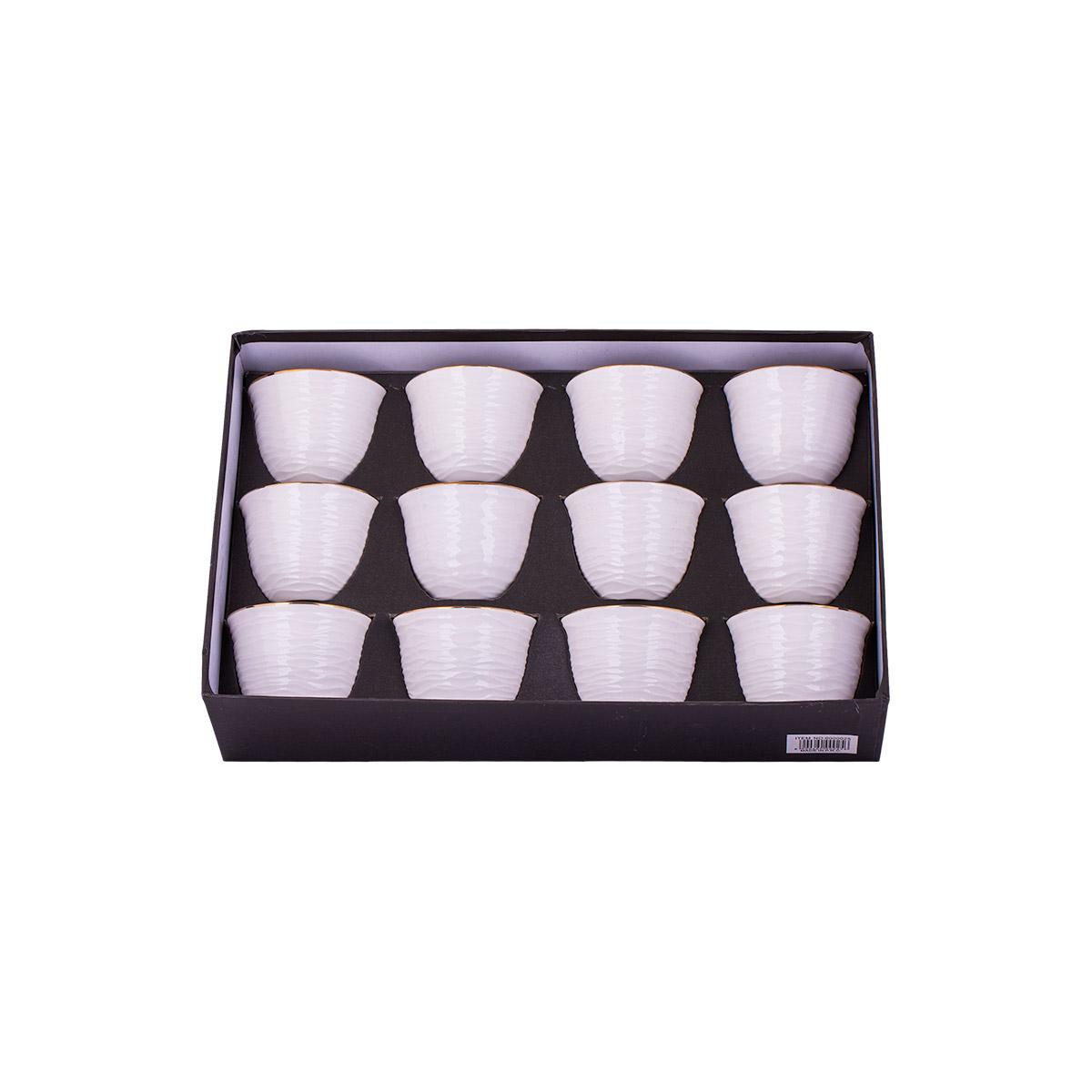 طقم فناجين قهوه سيراميك فاخرة 12 قطعه ذهبي 6000025