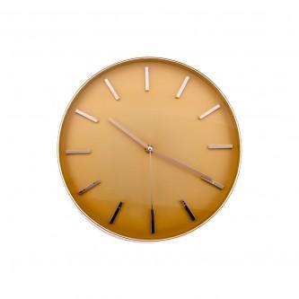 ساعة حائط  دائرية الشكل ايطار ذهبي موديل FM2043