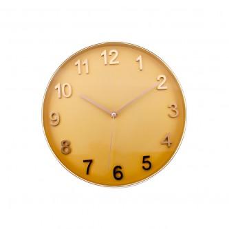 ساعة حائط  دائرية الشكل ايطار ذهبي موديل FM2044