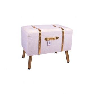 صندوق سجاد خشب بيج حزام ذهبي بقاعده موديل  KH-545