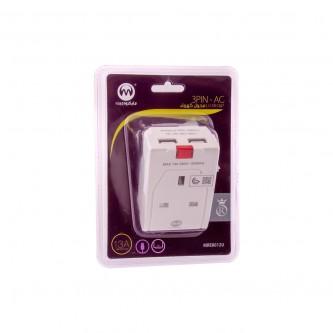 فيش كهربائي مع 2 منافذ USB رقم MRE9233