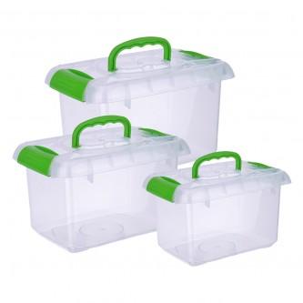 طقم حافظة ثلاجة مستطيل 3 قطع  مع غطاء -  شفاف
