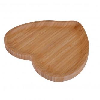 لوح تقديم خشبي  - بني اللون - شكل قلب