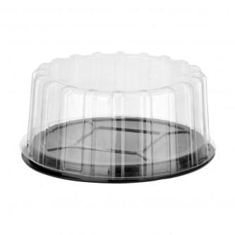 حافظة كيك شفاف دائرية  مع غطاء - 23 سم