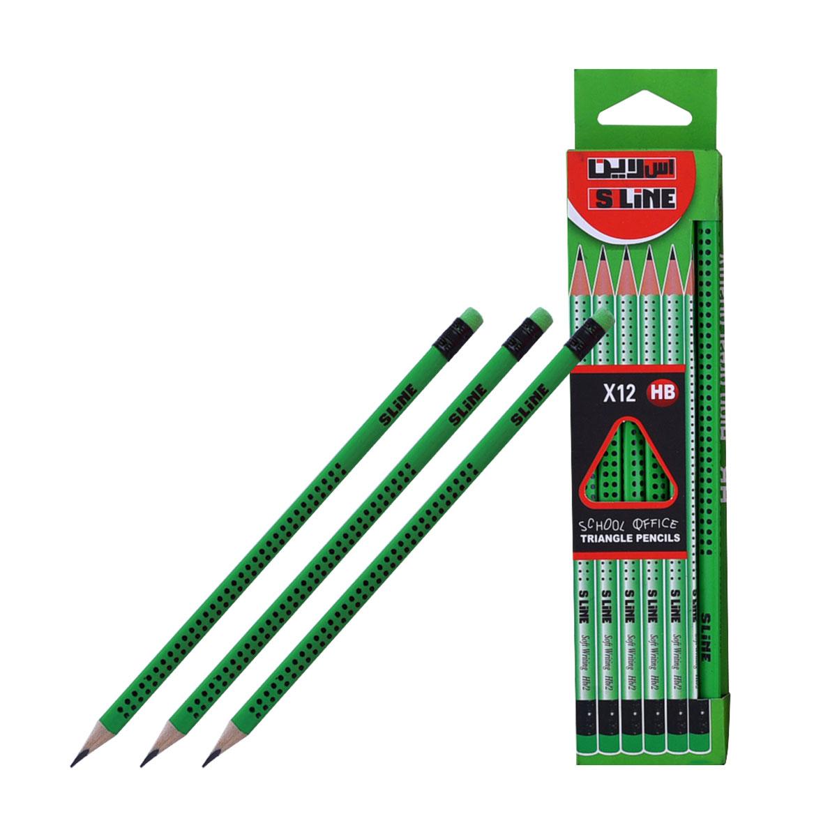 اقلام رصاص اس لاين   HB  مع ممحاة  - 12 قلم  - متعدد الالوان
