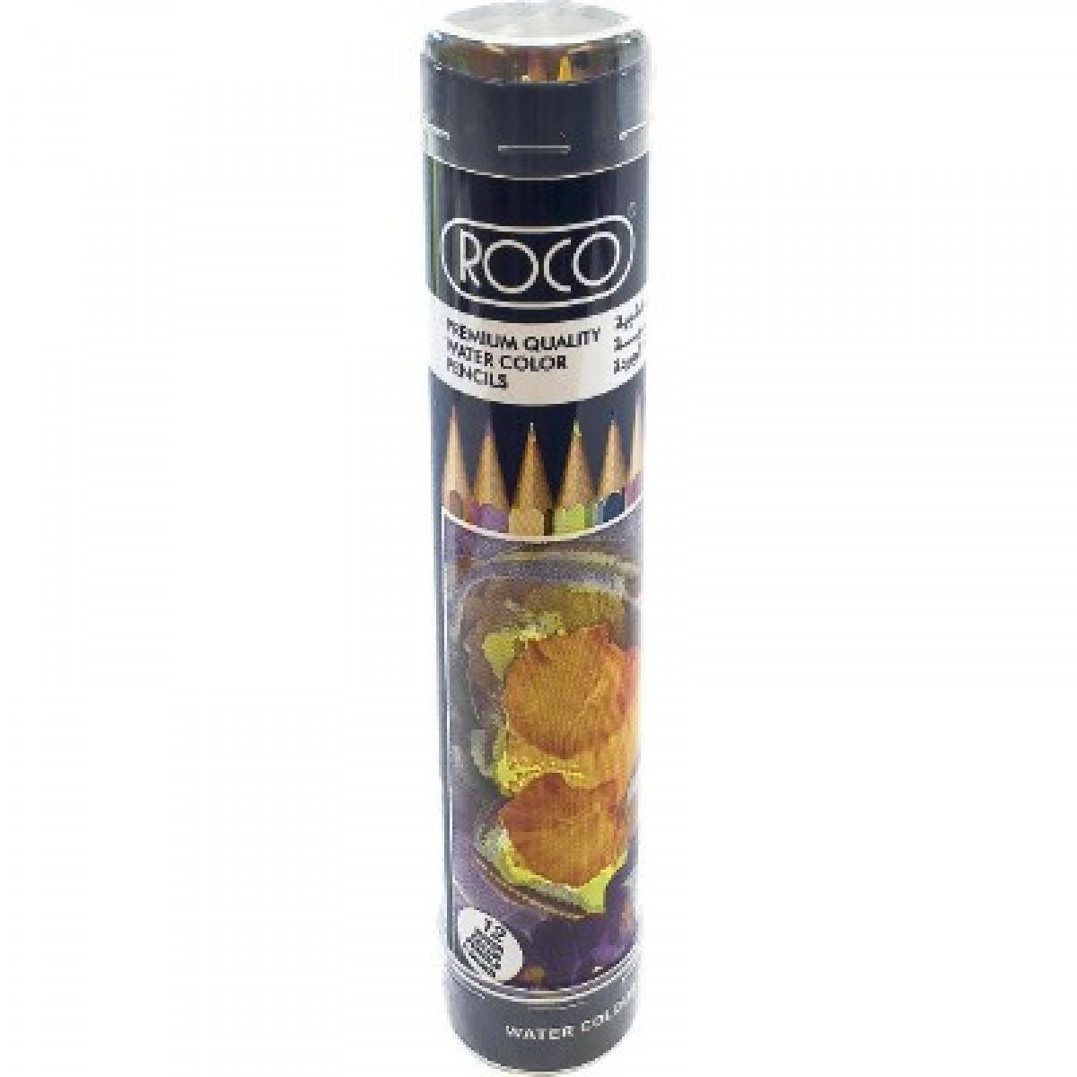 اقلام تلوين خشبية  مائية روكو مع فرشاة   - 12  قلم تلوين