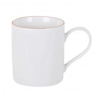 كوب سيراميك للقهوة , للشاي , للحليب لون ابيض محدد ذهبي.