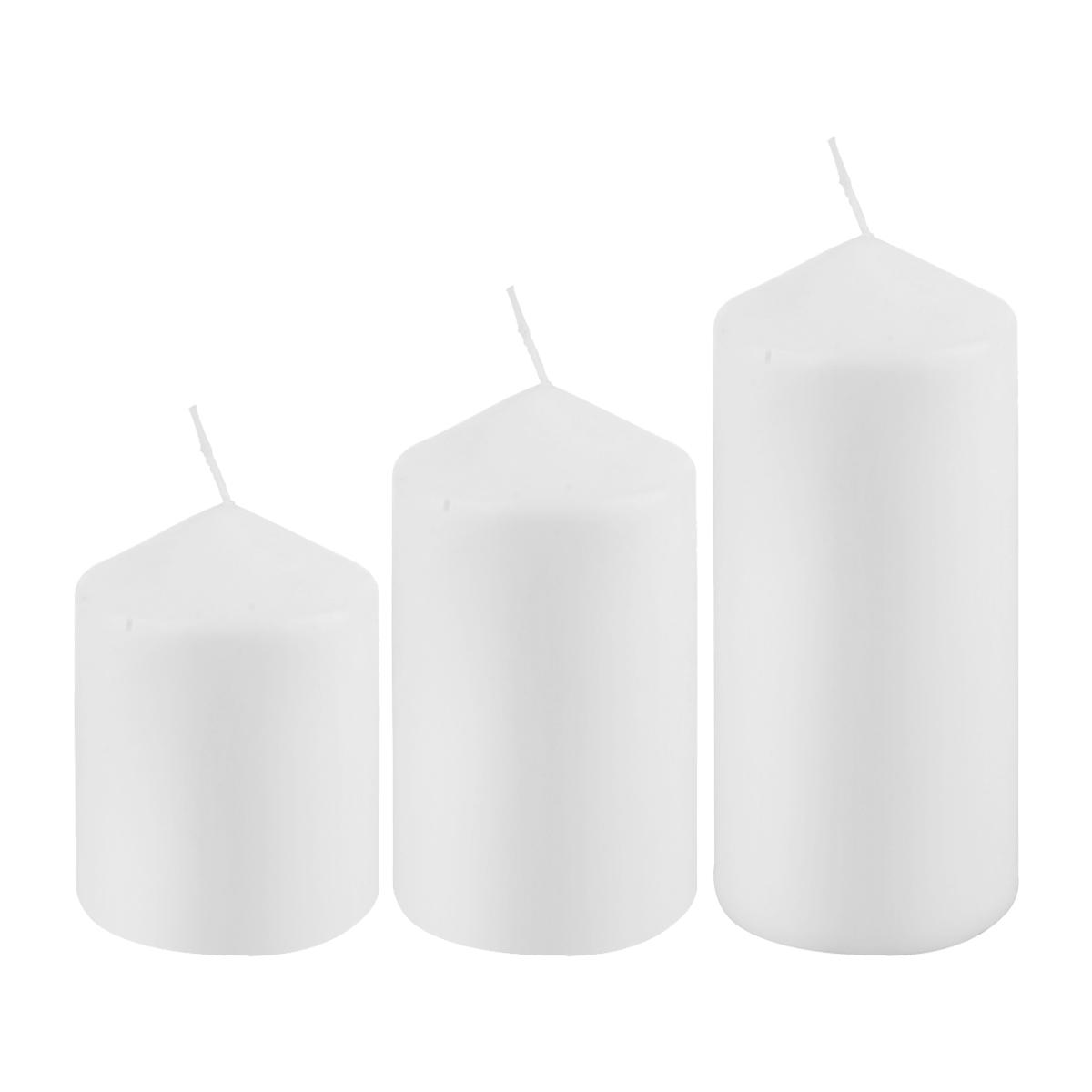 شمعة بدون رائحة  لون ابيض طقم 3 حبة دائري