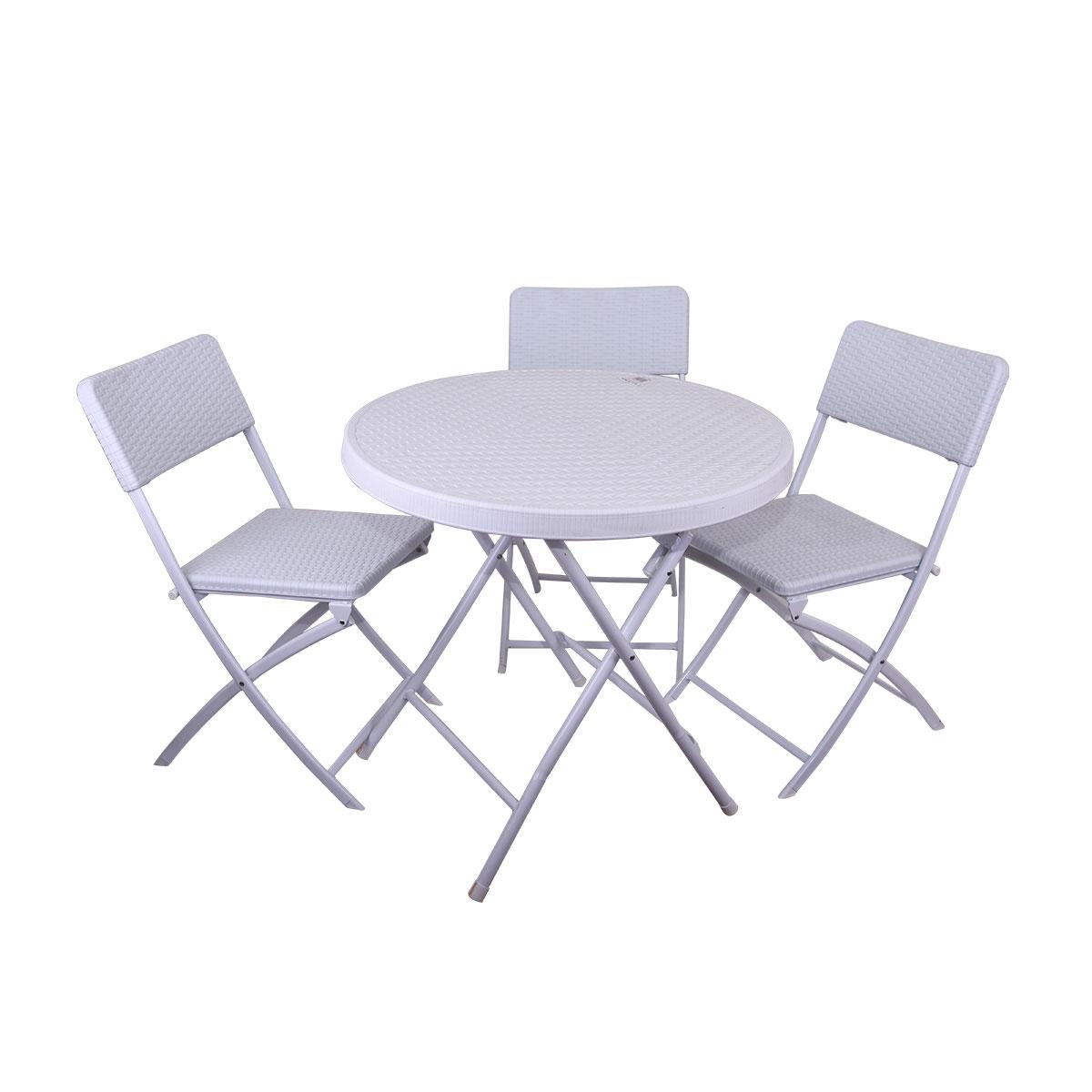 طاولة بلاستيك فايبر مع 3 كرسي قابلة للطي دائرية لون ابيض ,من ماي مارت