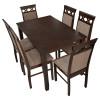 طاولة طعام خشبية مع 6 كرسي  - لون بني- صنع ماليزي