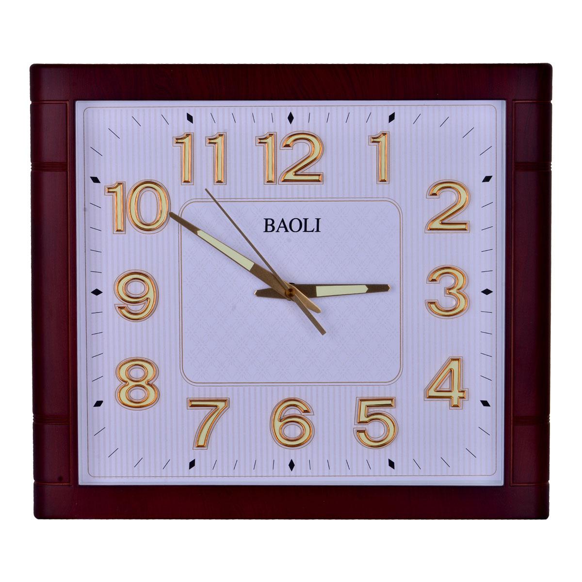 ساعة حائط  مستطيلة الشكل اطار لون بني غامق