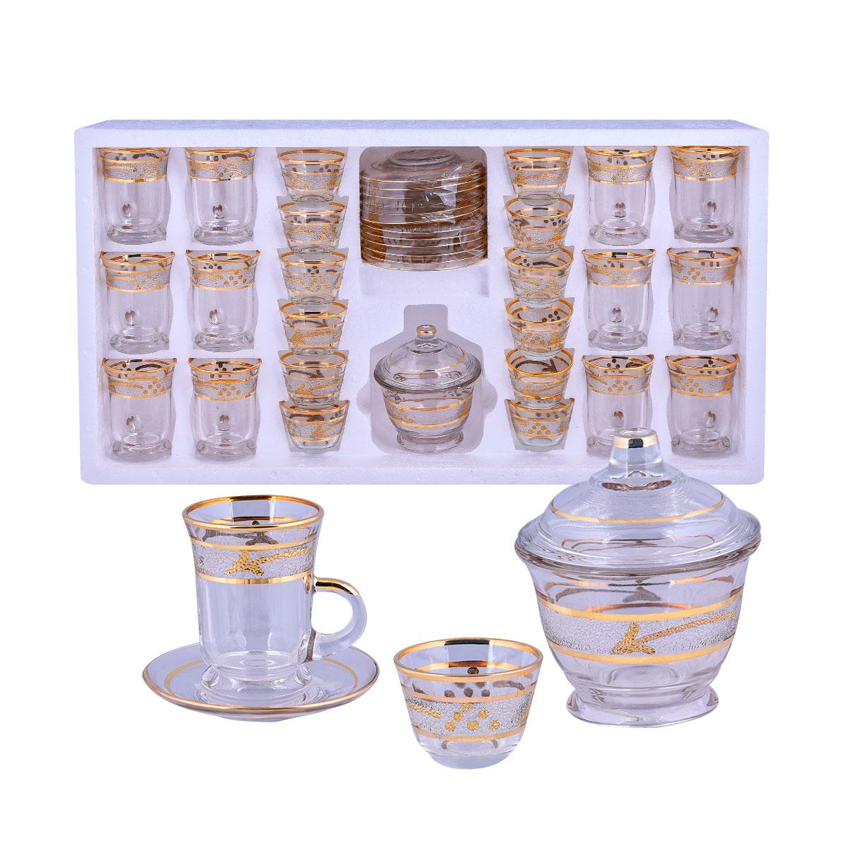 طقم فناجين قهوة وبيالات شاي زجاج  37 قطعة مع الصحون وسكرية رقم 0011