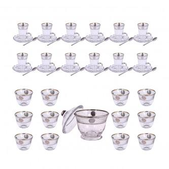 طقم فناجين قهوة وبيالات شاي زجاج  37 قطعة مع الصحون وسكرية رقم 6863