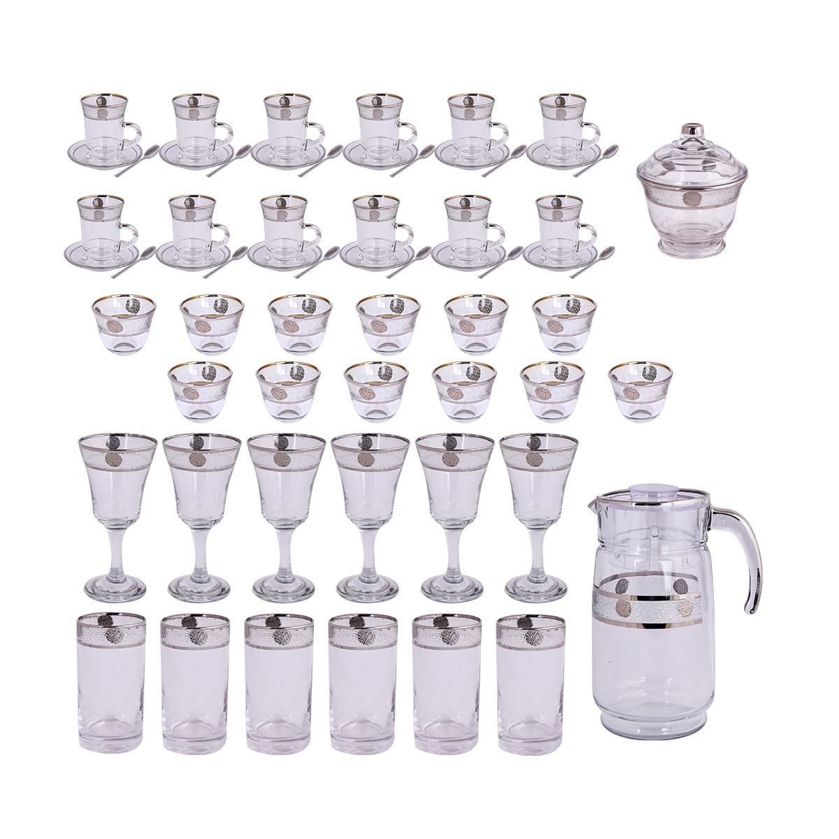 طقم فناجين وبيالات وكاسات وجيك زجاج -  50 قطعة مع الصحون وسكرية رقم 1026