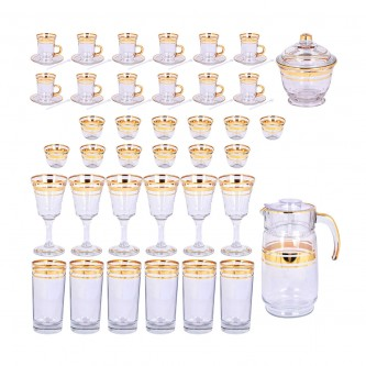طقم فناجين وبيالات وكاسات وجيك زجاج -  50 قطعة مع الصحون وسكرية رقم 6104