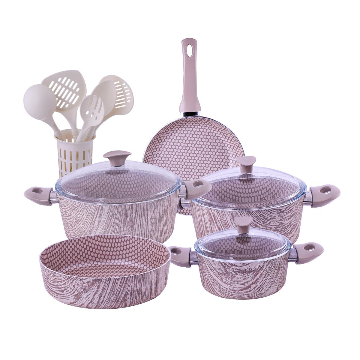 طقم قدور طبخ تركي لون خشبي ,17 قطعه , رقم A014