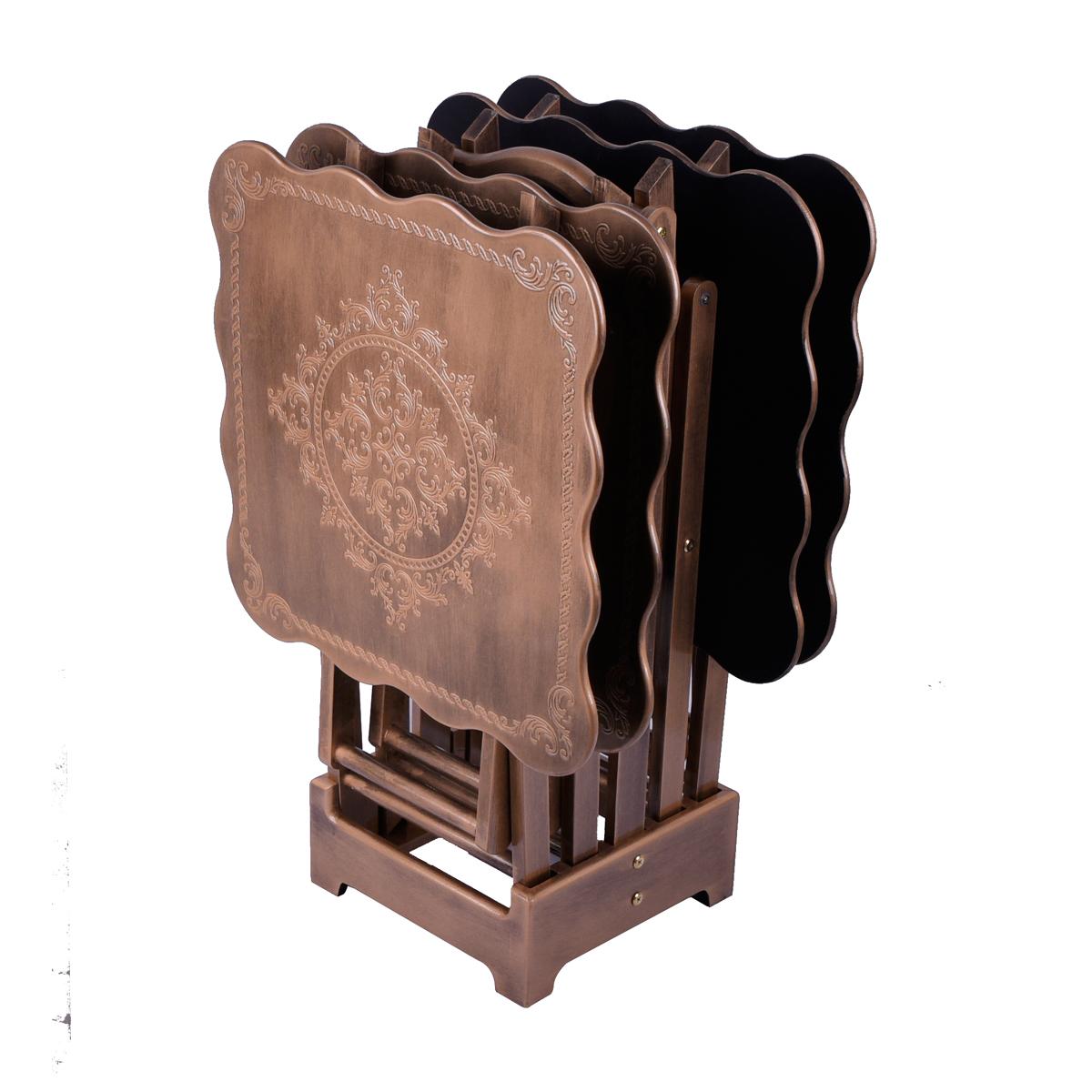 طقم طاولة تقديم وخدمة خشب مربعه مع شنطة , 4 طاولات - بسطح مزخرف