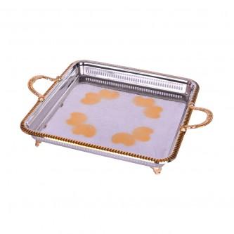 طوفرية تقديم استانلس استيل - مقبضين بقواعد سفلية - فضي مع ذهبي منقوشة