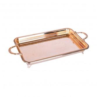 طفرية تقديم استانلس استيل مستطيلة  - ذهبي منقوشة