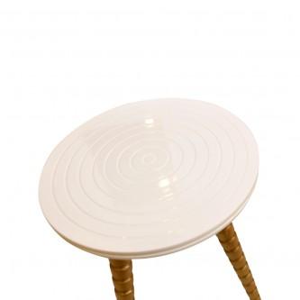 طاولة تقديم وخدمة خشب 3 قطع لون ابيض مع ذهبي