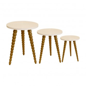 طاولة تقديم وخدمة خشب تركي 3 قطع لون ابيض مع ذهبي