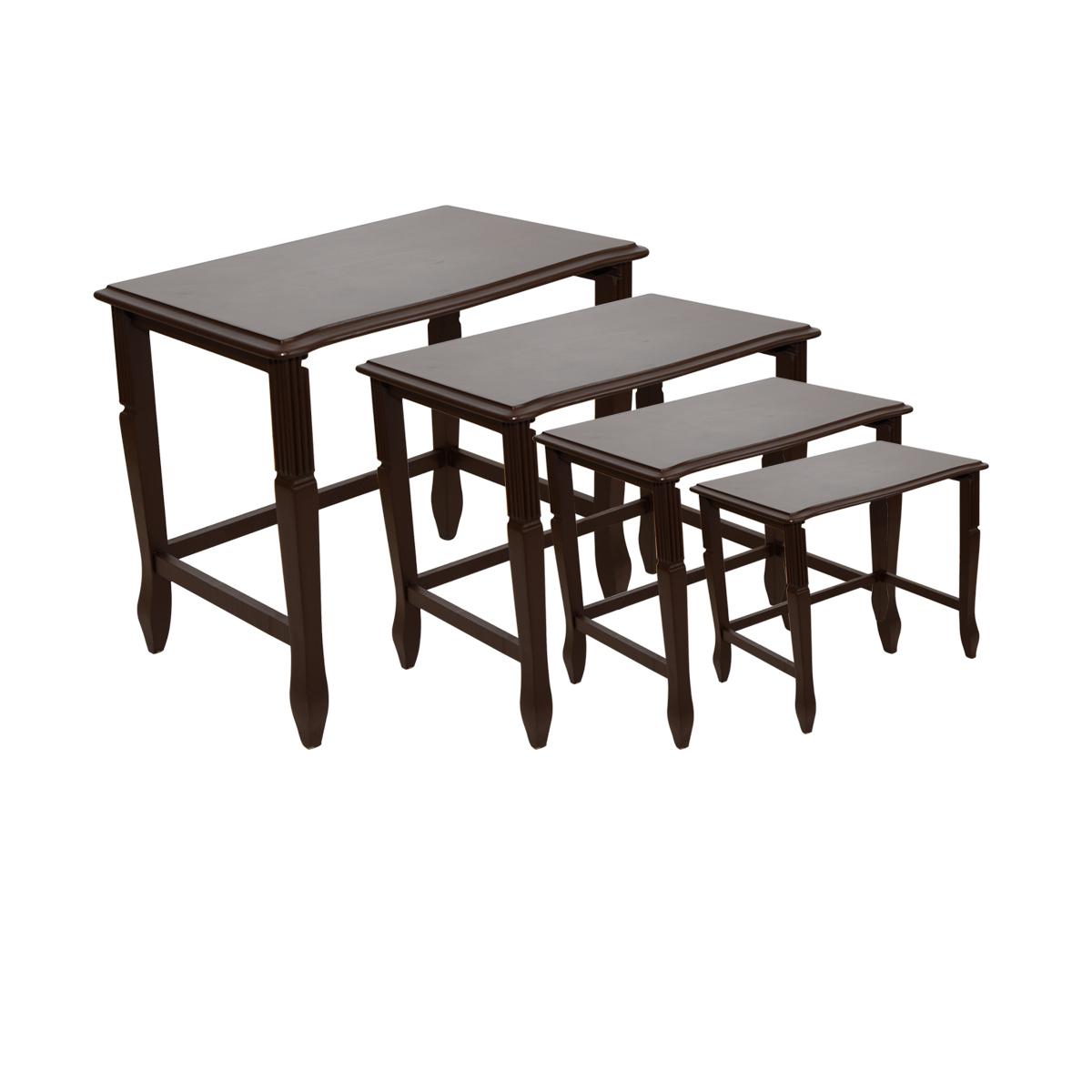 طاولة تقديم وخدمة خشب تركي 4 قطع لون بني