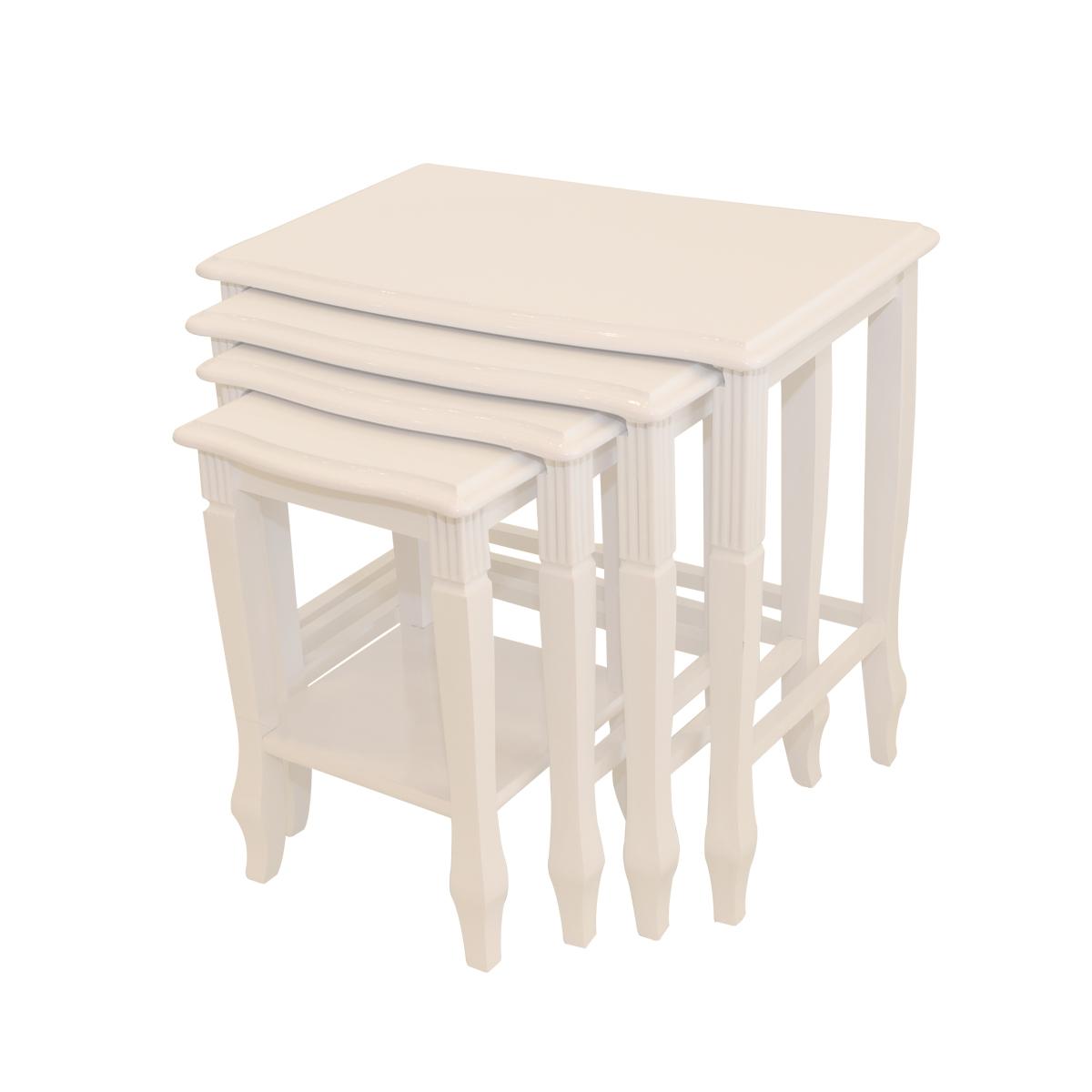 طاولة تقديم وخدمة خشب تركي 4 قطع لون ابيض