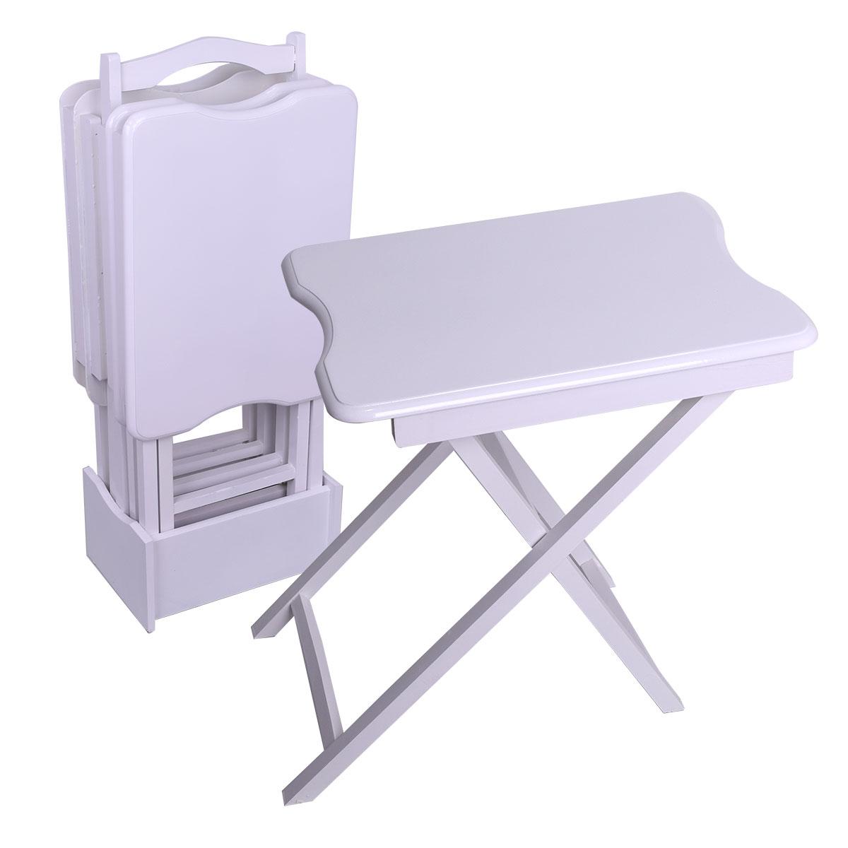 طاولة تقديم وخدمة خشب تركي 4 قطع لون ابيض شنطة