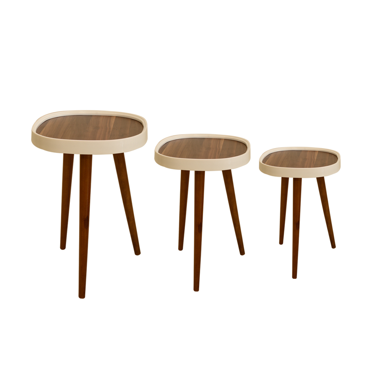 طاولة تقديم وخدمة خشب تركي 3 قطع لون بني رقم TR64