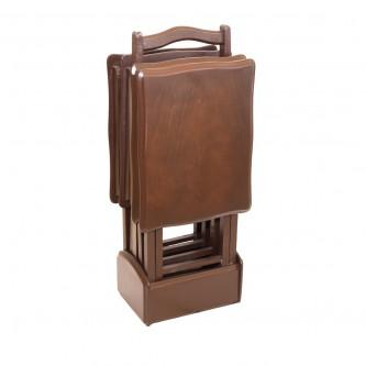 طاولة تقديم وخدمة خشب تركي 4 قطع لون بني شنطة
