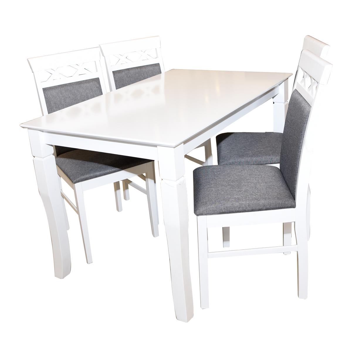 طاولة طعام خشبية مع  4 كرسي  - لون ابيض - ماليزي