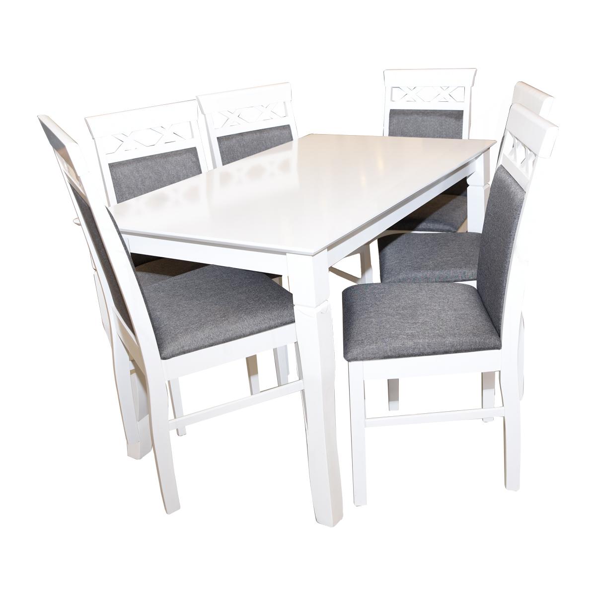 طاولة طعام خشبية مع 6 كرسي  - لون ابيض - صنع ماليزي