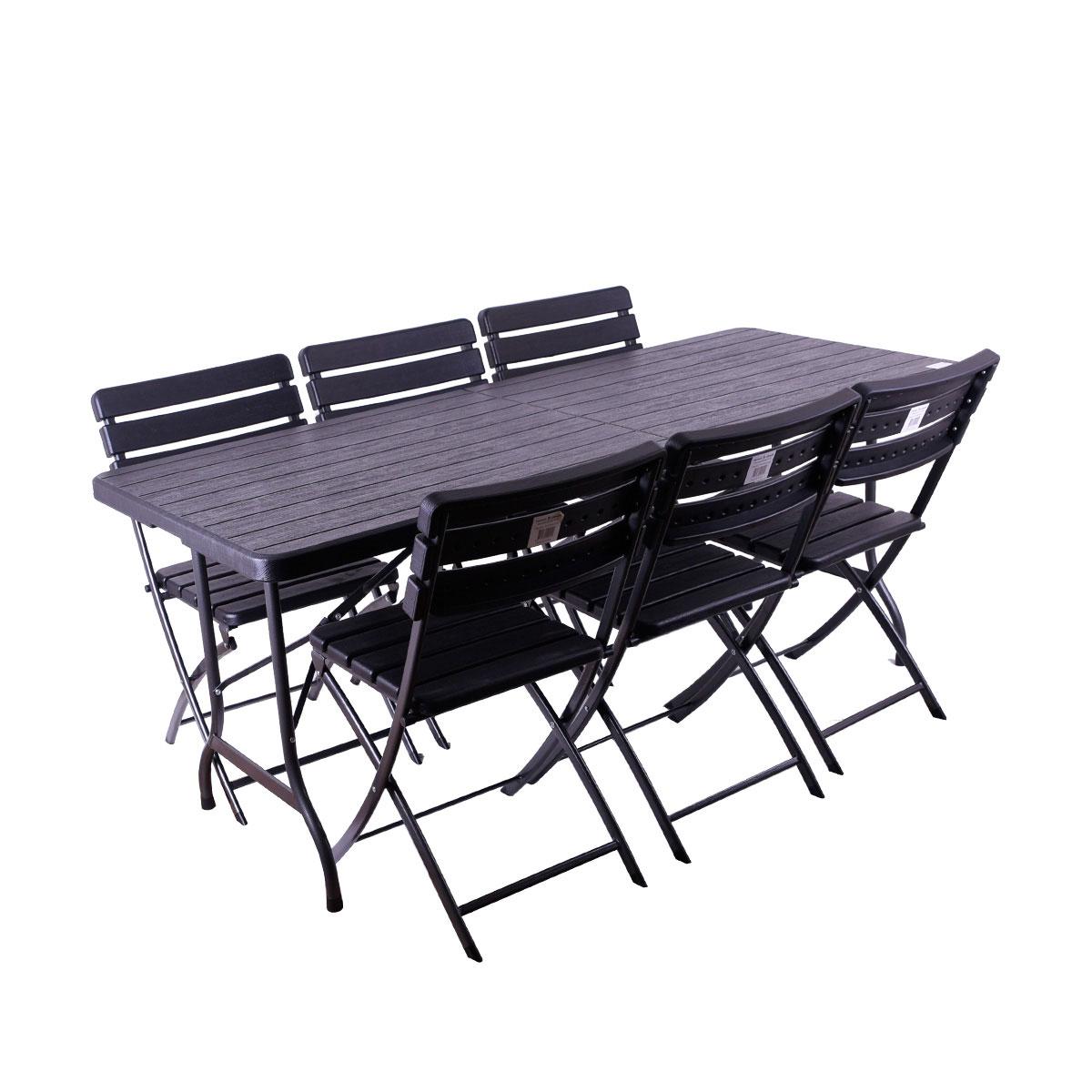 طاولة بلاستيك فايبر مع 6  كرسي قابلة للطي مستطيل اسود - من ماي مارت