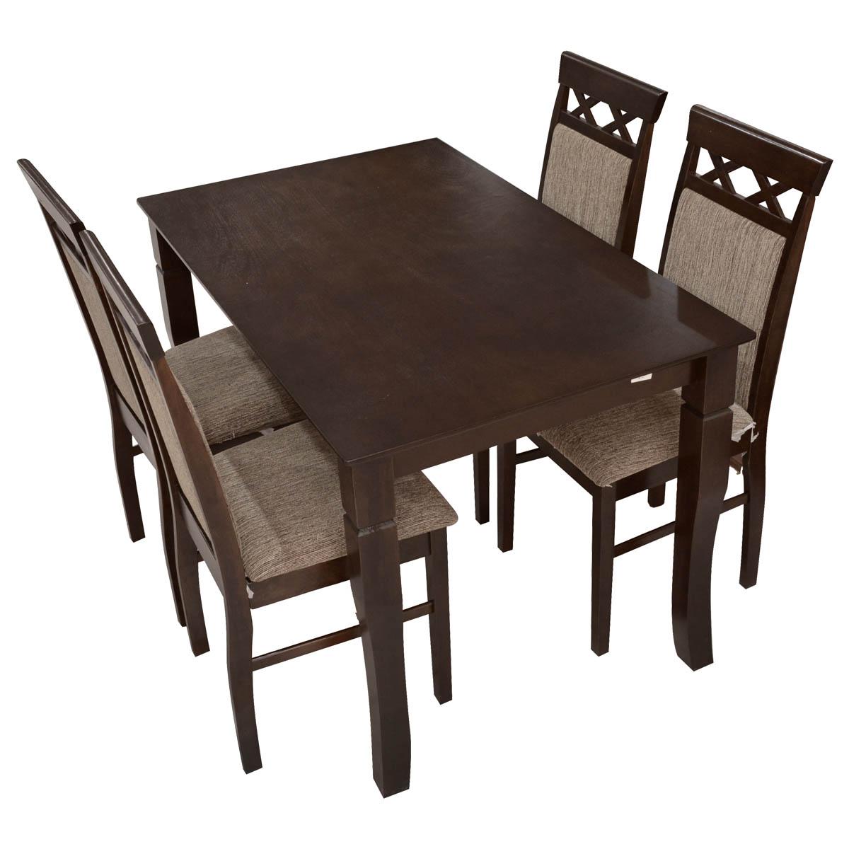 طاولة طعام خشبية مع  4 كرسي  - لون بني - ماليزي