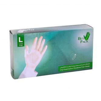 قفازات بلاستيكية  بست باك فينايل بدون بودرة متعددة الاستخدام مقاس L