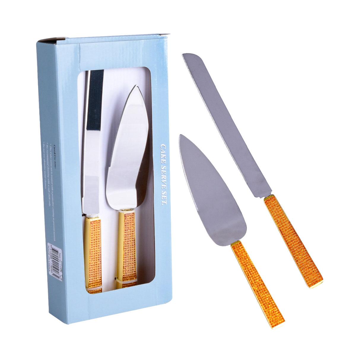 اداة تقطيع الكعك والحلويات سكين + مغرفة تقديم بنقش ذهبي - 11926